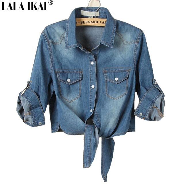 Women Short Denim Shirt Tie Top Jeans Tees Lady Casual Slim Tops Pure Cotton Shirt Large Size 3XL SWA0030 -5