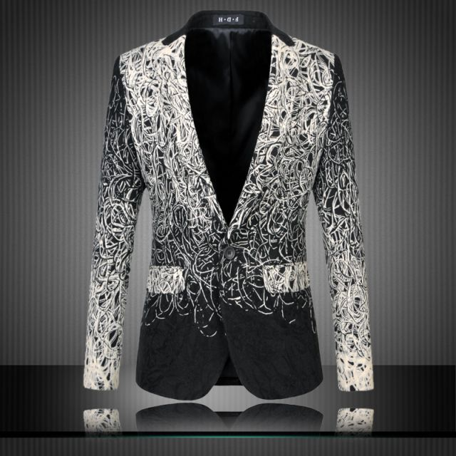 2016 Male plus size Casual Suit jacket Print Suit gradient outerwear Fancy blazer slim causual suit