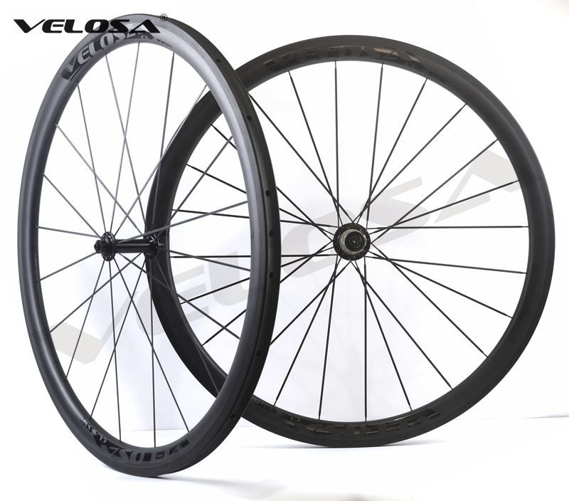 Velosa Race 30 black series road bike carbon wheelset,700C road bike wheel,38mm clincher/tubular,Ceramic bearings, super light
