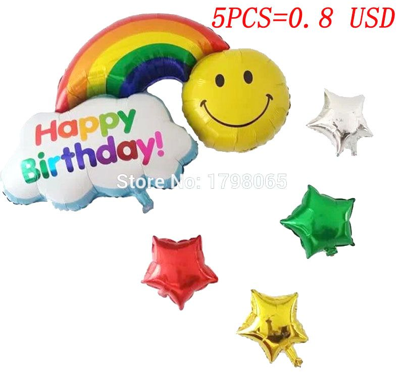 5pcs/sets  Baby Shower Air Balloons  Birthday Party Decoration Foil Balloons Baby Girl & Boy Happy Birthday Helium balls