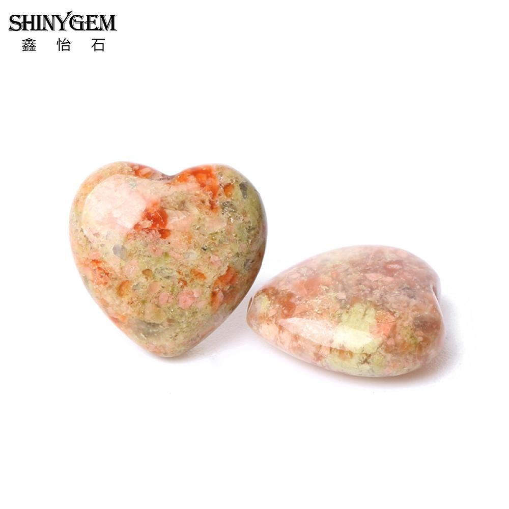 ShinyGem 15mm Heart Shape Flower Agates Loose Beads Red Pink Natural Stone Beads For Jewelry Making 20pcs/Lot Wholesale Supplies