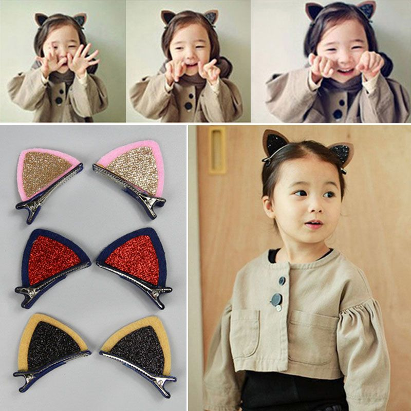 M MISM 2Pcs Lovely Baby Girls Cat Ears Hair Jewelry Kids Sequins Cute Ear Hair Clips Children Hairpin Barrettes Hair Accessories