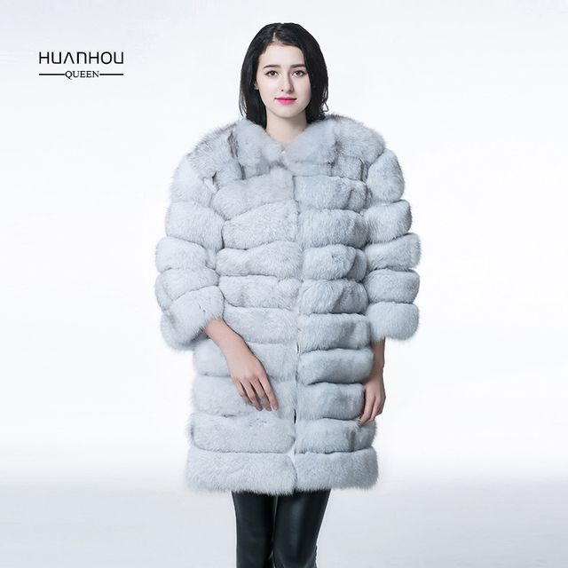 HUANHOU QUEEN2017 fur coat women,fox coat,long style O-Neck ,nine quarter,thick warm with full pelt