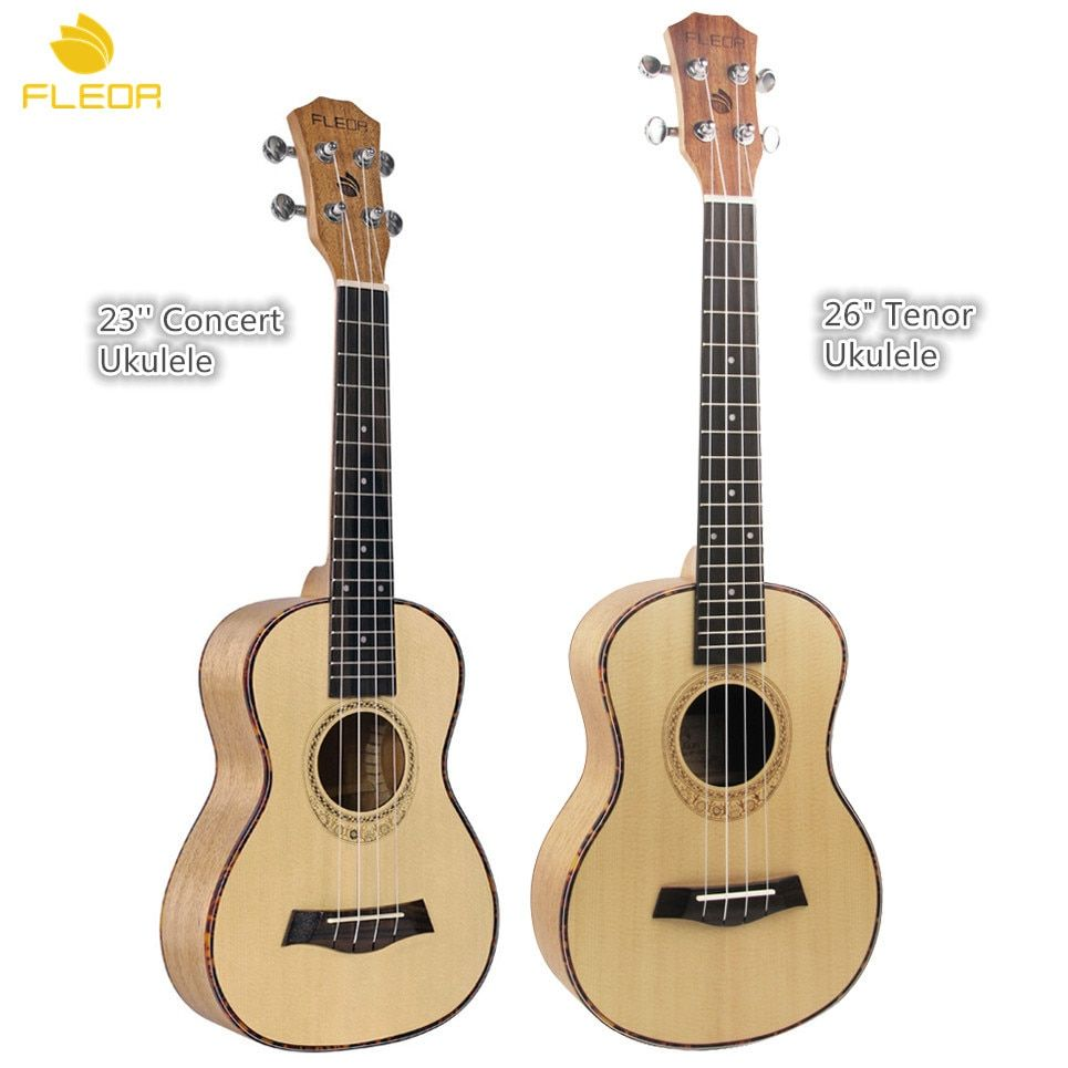 FLEOR 23 inch Concert Ukulele / 26 inch Tenor Ukulele Spruce top Mahogany Back/Side Board Ukulele Hawaii Guitar High Quality
