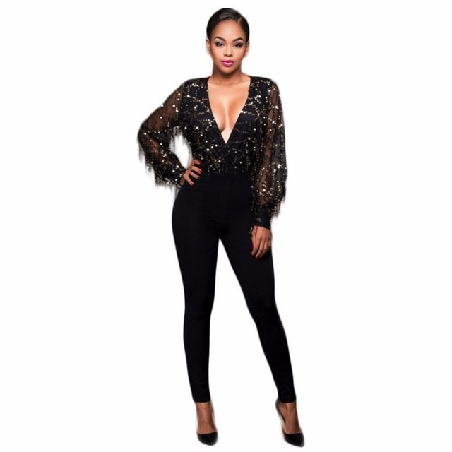 2017 Fashion Women See Through Tassel Black  V-neck Sequin Patchwork Jumpsuit Sexy Party Night Club Romper Femme Jumpsuit