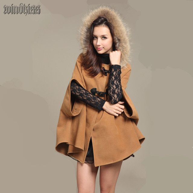 2016 Bestselling Hot Autumn And Winter Cashmere warm women coat woolen overcoat fur hooded cape wool coat Cloak woolen outerwear
