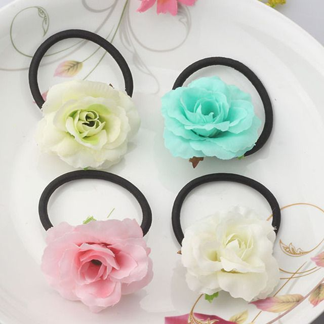 Hot Sale Summer Style Fabric Wraped Ponytail Holder Flower Children Hair Accessories Beauty Scrunchy Baby Elastic Hair Bands