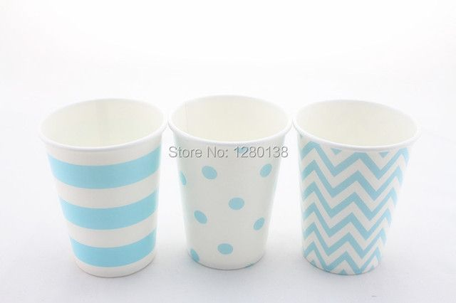 Free Shipping Light Baby Blue Paper Drinking Cups Disposable Blue Party Supplies Boy Baby Shower Tabelware 1200pcs/lot