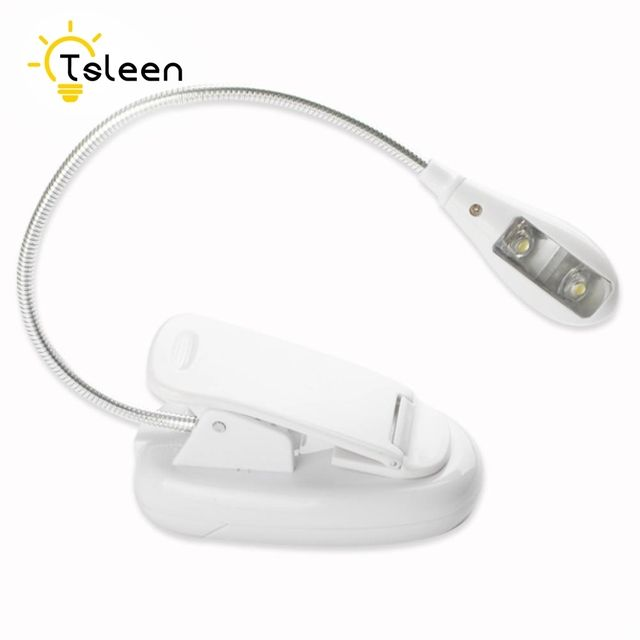 TSLEEN LED White Clip Book Light For Laptop Liseuse Ebook Reader Reading Flexible Arm Stand Lamp With Different Leds