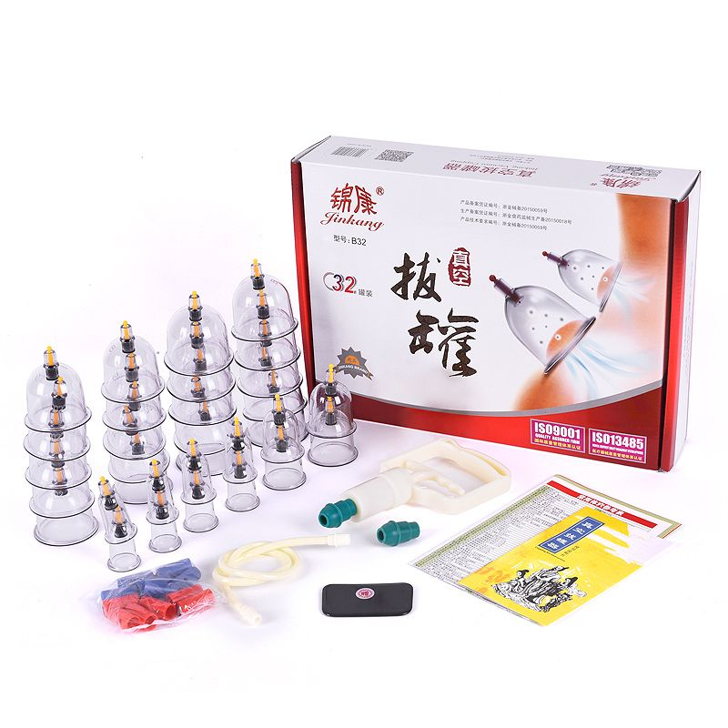 32Pcs Massage Cans Cups Vacuum Cupping Kit Pull Out Vacuum Apparatus Therapy Relax Massager Body Suction Pumps Bank Tank Set