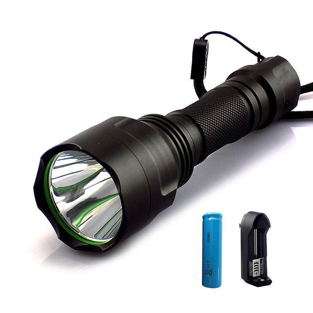 T6  LED Flashlight flash Torch light 2000lm linternas recargable flashlights powerful tactical + 18650 battery+ charger