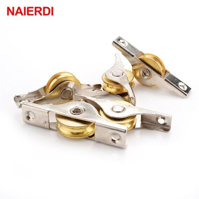 4PCS NAIERDI Sliding Door Roller Cabinet Copper Caster Wheel Pulley Runners For Wardrobe Window Furniture Hardware