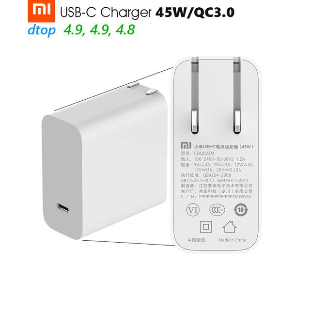Original Xiaomi Mi USB-C Charger 45W Max Smart Output Type-C Port USB PD 2.0 Quick Charge QC 3.0 Gift Cable