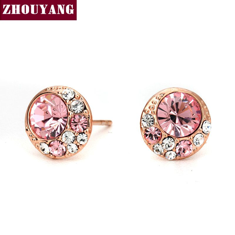 Top Quality ZYE145 Pink Moon Stud Earring Rose Gold Color Jewelry  Austrian Crystal