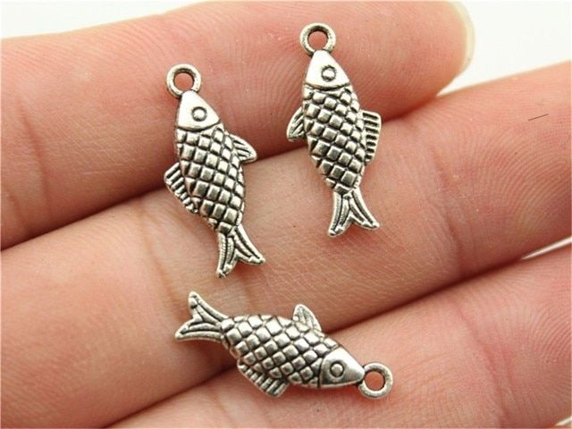WYSIWYG 12pcs 20x8mm Pendant Fish Fish Charm Pendants For Jewelry Making Antique Silver Fish Pendants