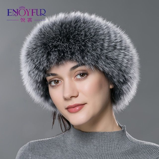 ENJOYFUR women fur headbands real fox fur scarf knitted warm ear protecter headband  2016 new fashion Russia fur headwarps