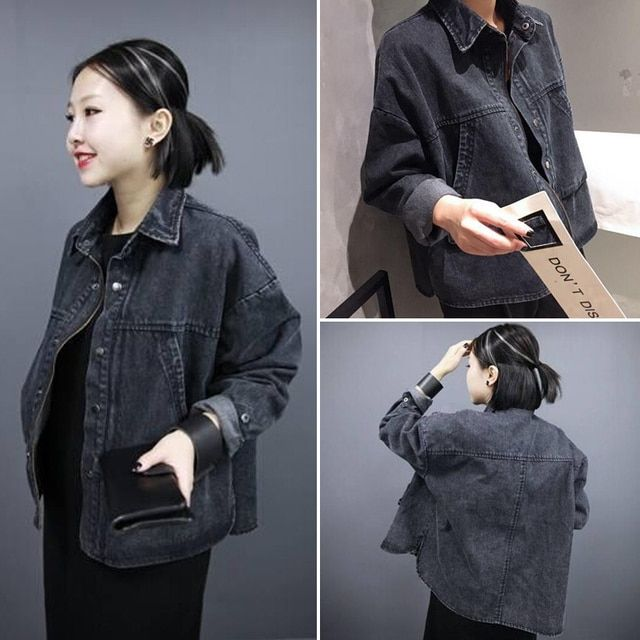 Makuluya Autumn High quality Fashion women black denim jacket loose female long-sleeves coats Casual Outwear QW