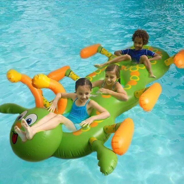 Inflatable Ride-on Large Pool Floatng Inflated Caterpillar Swimming Ring Children Summer Outdoor Fun Water Toys Party Supplies