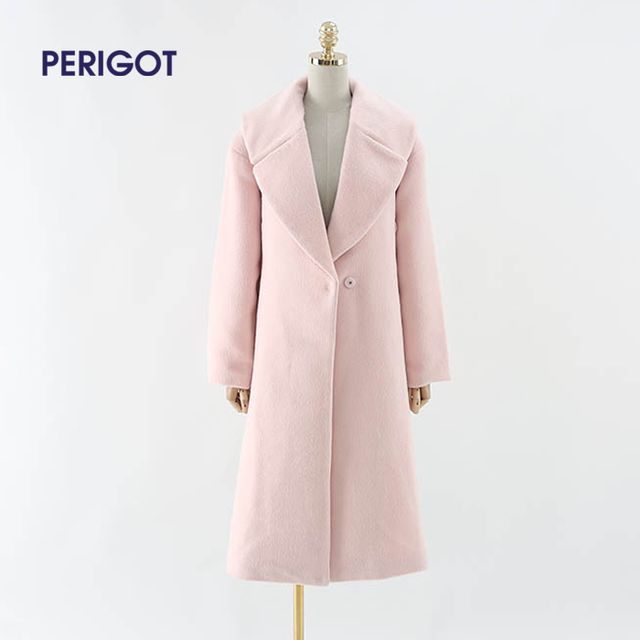 2017 Autumn Spring Fashion Women Wool Coat Loose Waistband Mohair Outerwear Padded Lining Overcoat Light Pink