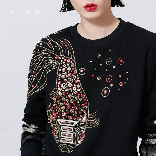 Ving 2017 Women O-neck Sequin Embroidery Sweatshirt Gauze Patchwork Fashion Long Sleeve Women Pullover