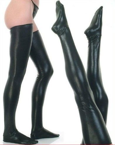 Sexy Lingerie Faux Leather Stockings Leg Wear Stockings Women Sexy Black Latex Stockings Wet Look High Stockings Club Dance wear