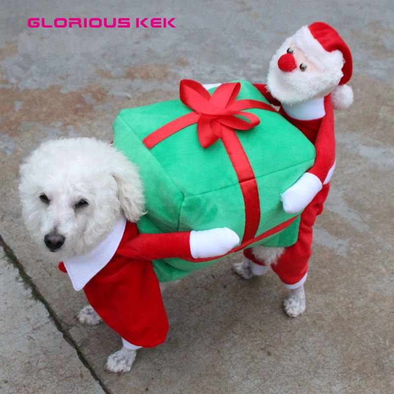 GLORIOUS KEK Christmas Dog Costumes Funny Santa Claus Dog Clothes Dog Gift  Puppy Fleece Coat Warm Winter Pet Clothes