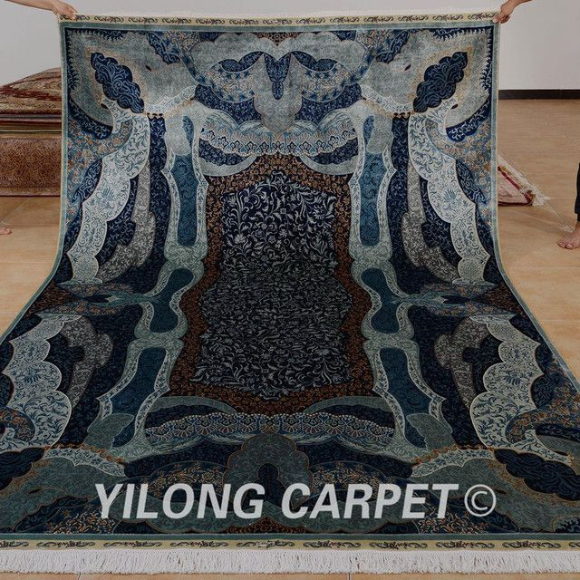 Yilong 6.56'x9.84' Turkish design rug dark blue vantage hereke silk carpet (0783)