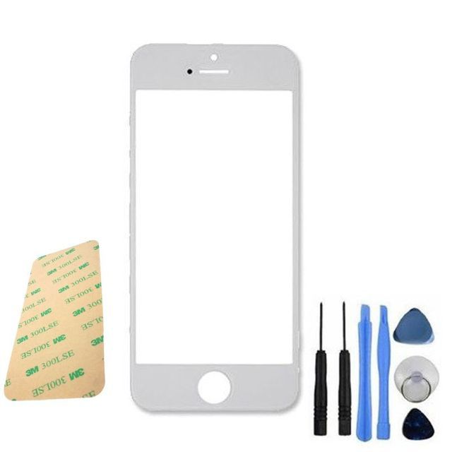 White New Replacement LCD Front Screen Glass Lens & Tools & Adhesive for Apple  iPhone 5 5G 5S BA1C005