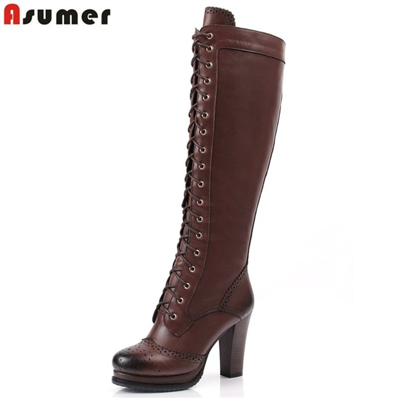 ASUMER 2020 New winter lace up pu+ genuine leather boots shoes high heels women's knee high boots sheepskin motorcycle boots