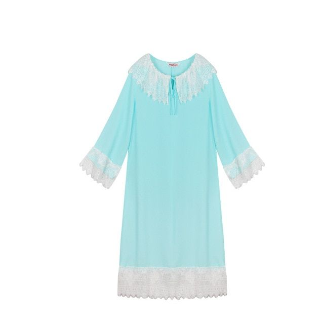 Free Shipping High Quality Lace Princess Women's Long Nightgowns Ladies Women Nightdress