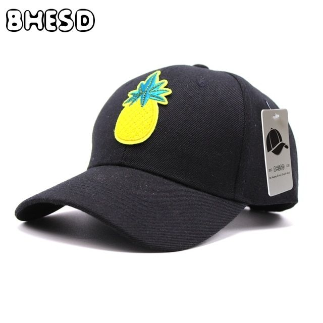 BHESD 2017 Pineapple Casual Dad Hat  Women Summer Baseball Cap Men Black Snapback Hat Ananas Casquette Homme Bones Gorro JY-396