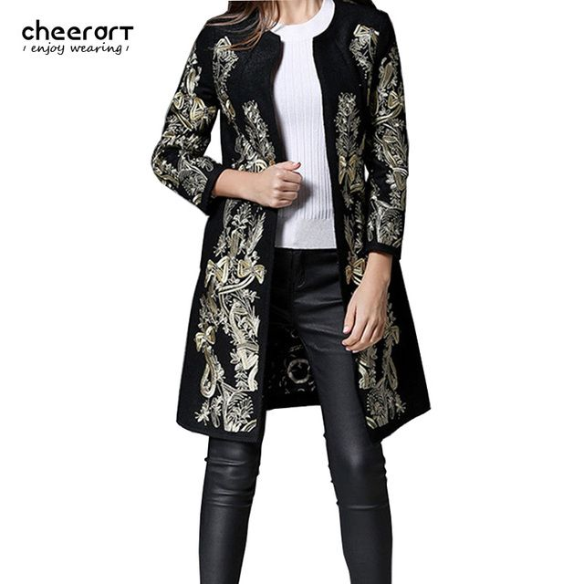 Cheerart Gold Embroidery Floral Wool Coat Women Vintage Black Parka Long Woolen Winter Faux Cashmere Female Ladies Overcoat