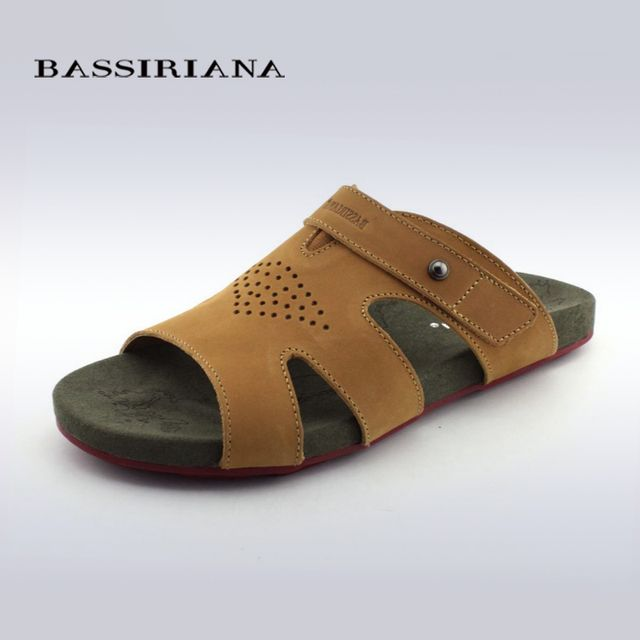 BASSIRIANA Summer New Men's Sandals Genuine Leather Mens Flats Genuine Leather Slippers Outdoor Man Beach Walking Casual Shoes