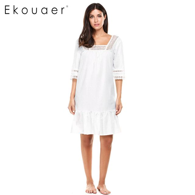 Ekouaer Women Sleepwear 3/4 Sleeve Patchwork Lace Patchwork Square Neck Pullover Dress Nightgowns Night dress