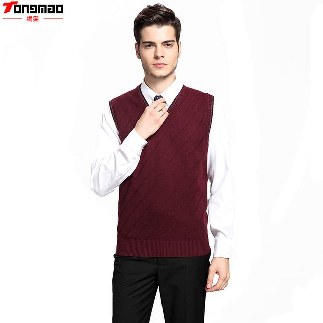 4 Season Interchangeable Men's Knitted V-neck Wool Sleeveless Solid Vest Fashion Casual Style wild Sweater