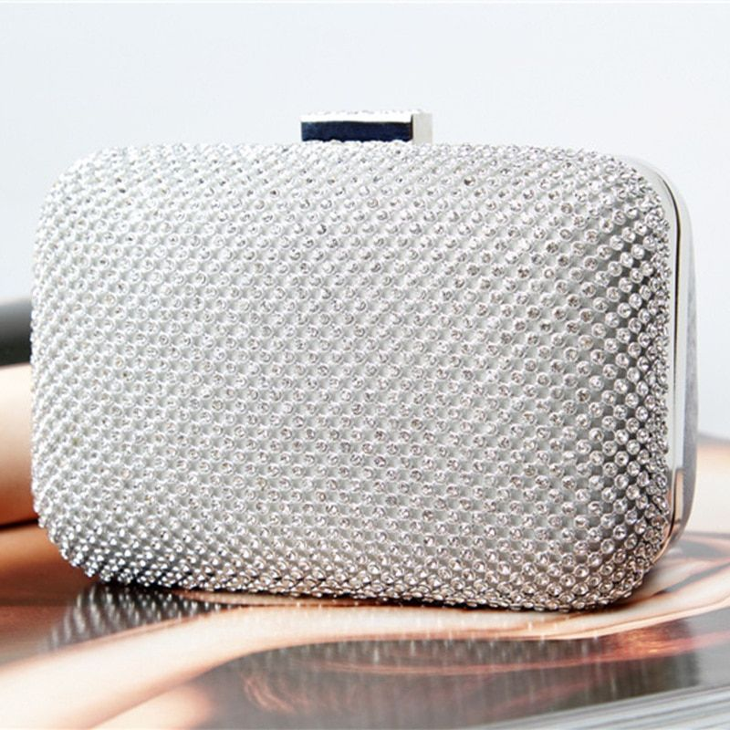 Free Shipping 2014 New Custom Women Rhinestone Clutch Gold Chain Crystal Evening Bag Party Wedding Handbag Purse E1076