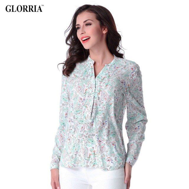 Glorria Women Thin Plus Size Print Long Sleeve Blouses Loose V-Neck Irregular Hem Tops Spring Summer Casual Fashion Shirts