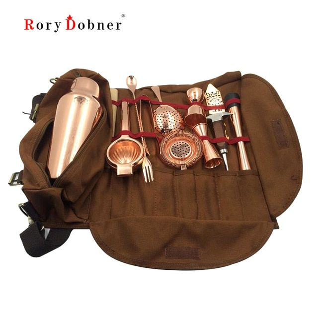 Bartender Tool Set Equipment Beer Whisky Shaker Cork Wine Bartender Kit Leather Bag Stopper Bouchon Bar Cocktail Jigger J927