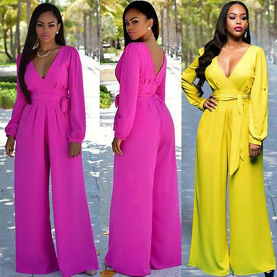 NEW Women Ladies Clubwear Summer Playsuit Party Jumpsuit Romper Trousers Long Sleeve Solid V-Neck Bodysuit