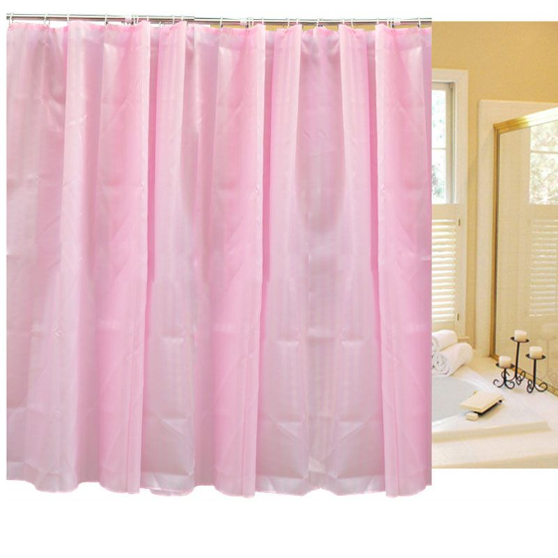 1pcs Striped Solid Color Bathroom Shower Curtains 180x180cm  & 180x200cm Waterproof Bath Curtains With 12pcs Plastic Hook