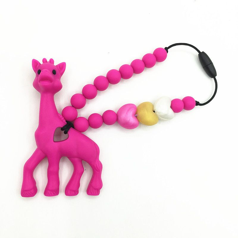 silicone teething giraffe pacifier necklace Hanging Toy -silicone Baby Carrier Teething Accessory -baby teether giraffe toys