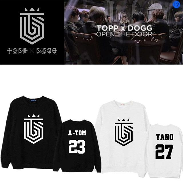 ALLKPOPER Kpop TOPP DOGG Sweatershirt Unisex Hoodie Casual Black White Kawaii Number Pullover Jenissi P-Goon Gohn Tracksuits