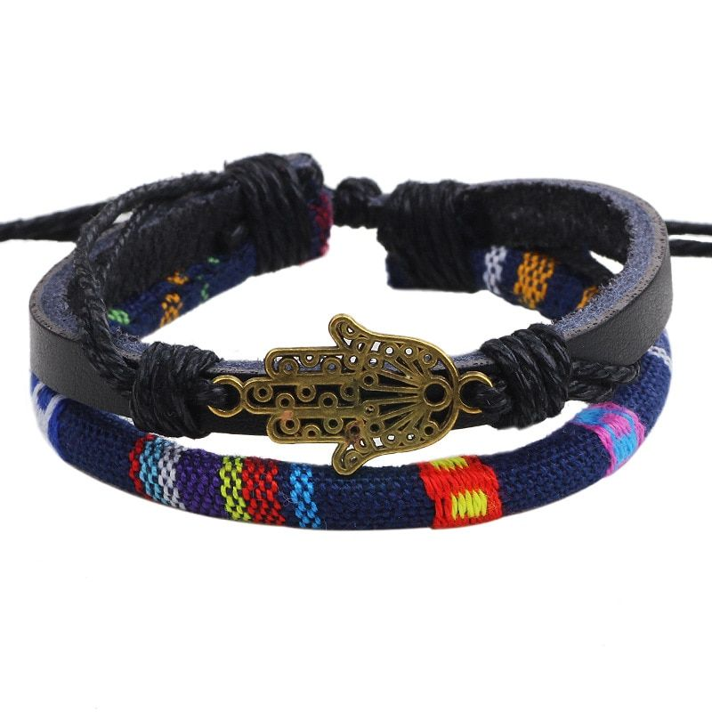 2017 Fashion Korean Version Buddha Hand Leather Bracelets Color Cloth Woven Hemp Rope Bangles For Men Women Jewelry Accessories