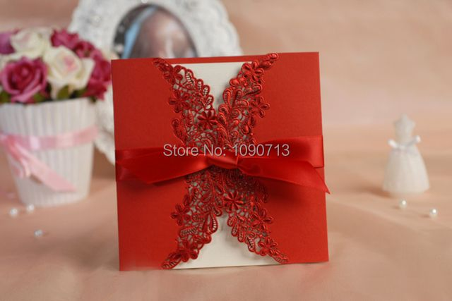 Free Shipping 40 X Laser Cut Red Invitation Cards Personalized & Customized Printing Wedding Invitations Cards Wedding Gifts