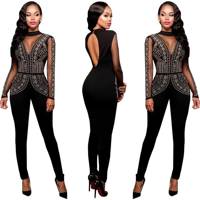 Free Shipping New Arrival 2016 Women Sexy Club Wear Jumpsuit Black O-Neck Long Sleeve Rhinestone Skinny Party Romper Feminino FZ