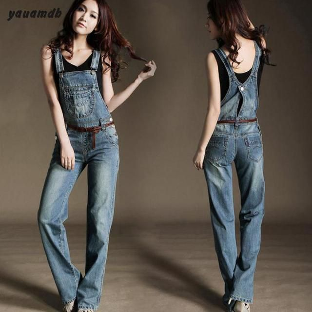 S-XL women Denim overalls jumpsuit 2016 spring/autumn feminino cowboy bodysuit female rompers mujer Jeans  Ladies Trousers y67