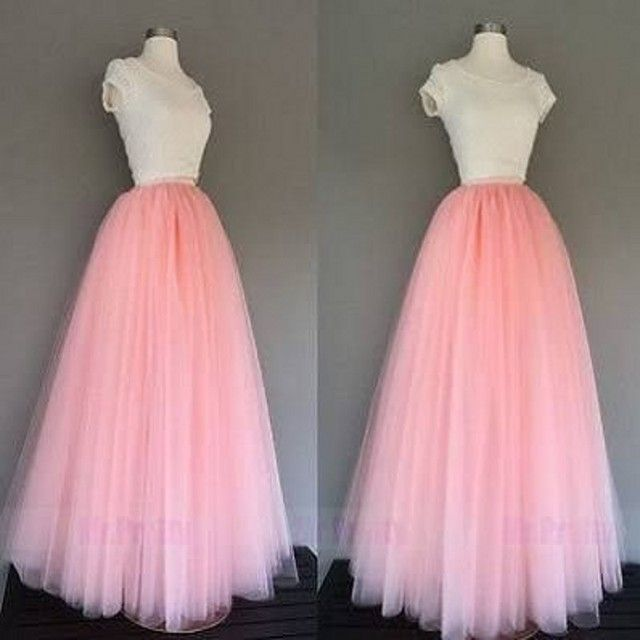 Hot Sale Long Pink Tulle Skirts Women A Line Floor Length Full Maxi Skirt Puffy Layers Tutu Skirt Customized Real Photo