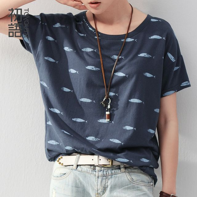 Toyouth Fish T Shirt Print Women Summer O-Neck Casual Wear Short Batwing Sleeve Tops Roupas Femininas