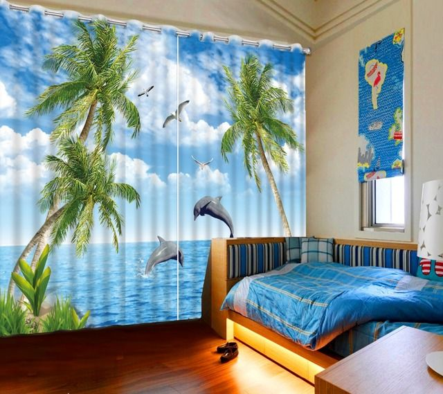 Photo custom any size blackout curtains for living room dolphin beach tree window curtains for living room