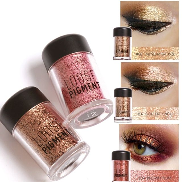 New Makeup Loose Pigment Eye Shadows Mineral Powder Gold Red Metallic Focallure Loose Glitter Powder Eyeshadow Color Makeup